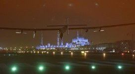 Solar Impulse landing in Abu Dhabi, United Arab Emirates